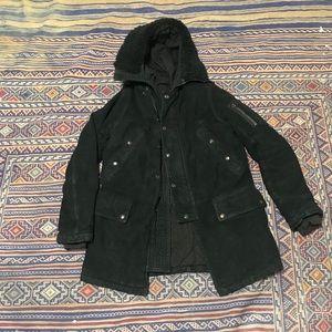 Balmain black parka with leather trim size 46